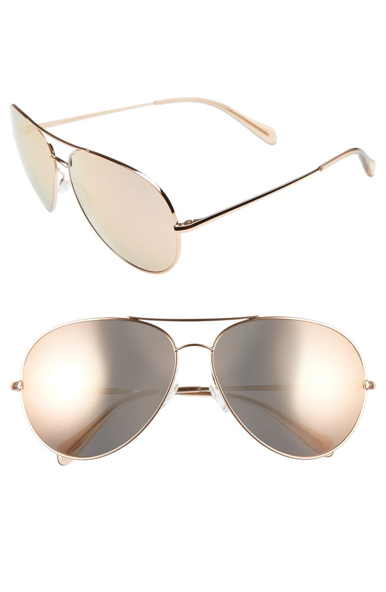 OLIVER PEOPLES Sayer 63mm Oversized Aviator Sunglasses, Main, color, PINK/ PINK