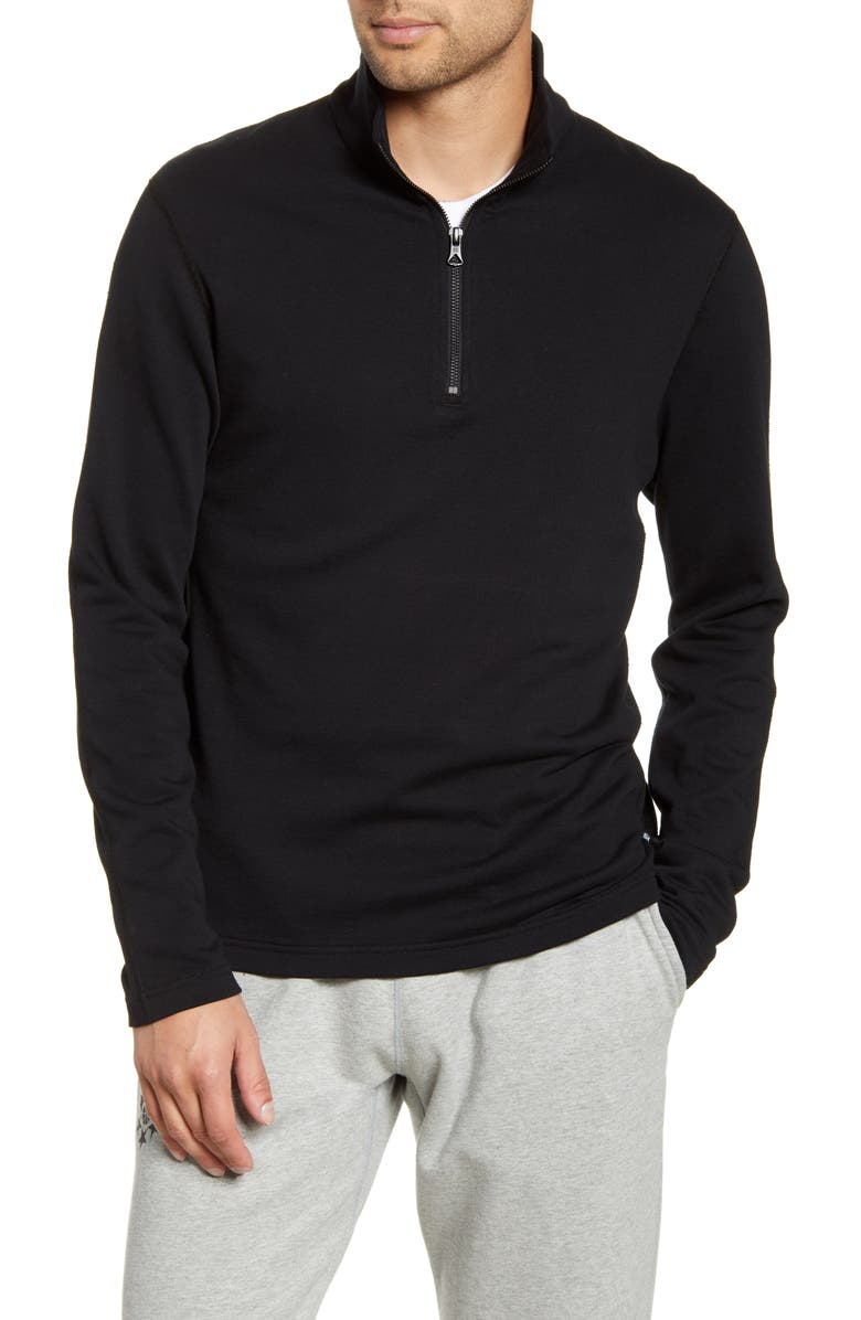 REIGNING CHAMP Half Zip Pullover, Main, color, BLACK