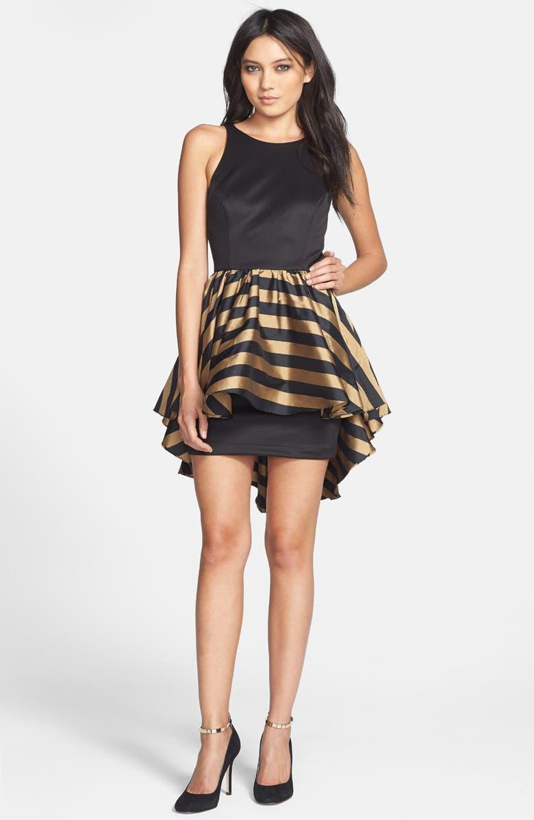 ALEXIA ADMOR High/Low Peplum Ponte Sheath Dress, Main, color, 010