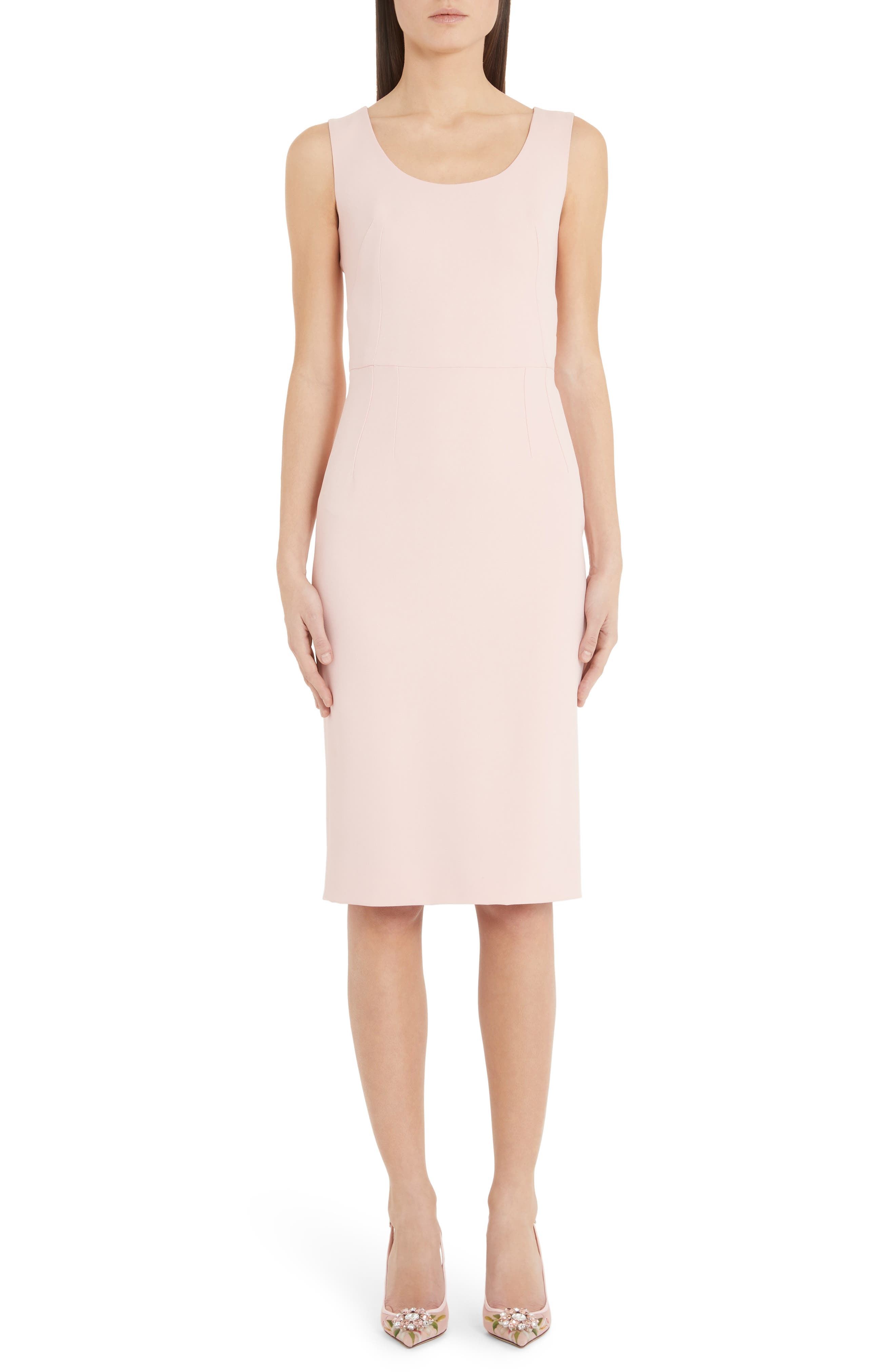 Dolce & gabbana Scoop Neck Sheath Dress, 50 IT - Pink