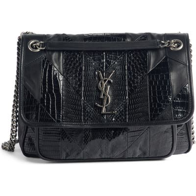 Saint Laurent Niki Medium Patchwork Shoulder Bag - Black