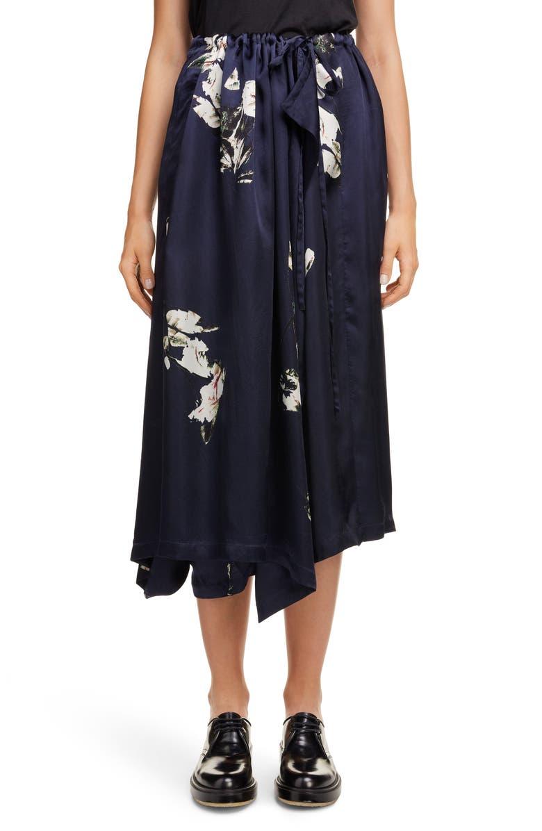 Y'S BY YOHJI YAMAMOTO Floral Asymmetrical Wide Leg Pants, Main, color, NAVY