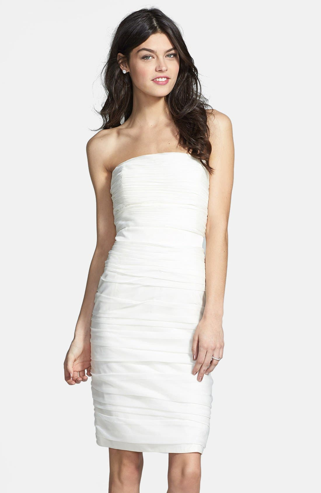 ,                             Ruched Strapless Cationic Chiffon Dress,                             Alternate thumbnail 84, color,                             900