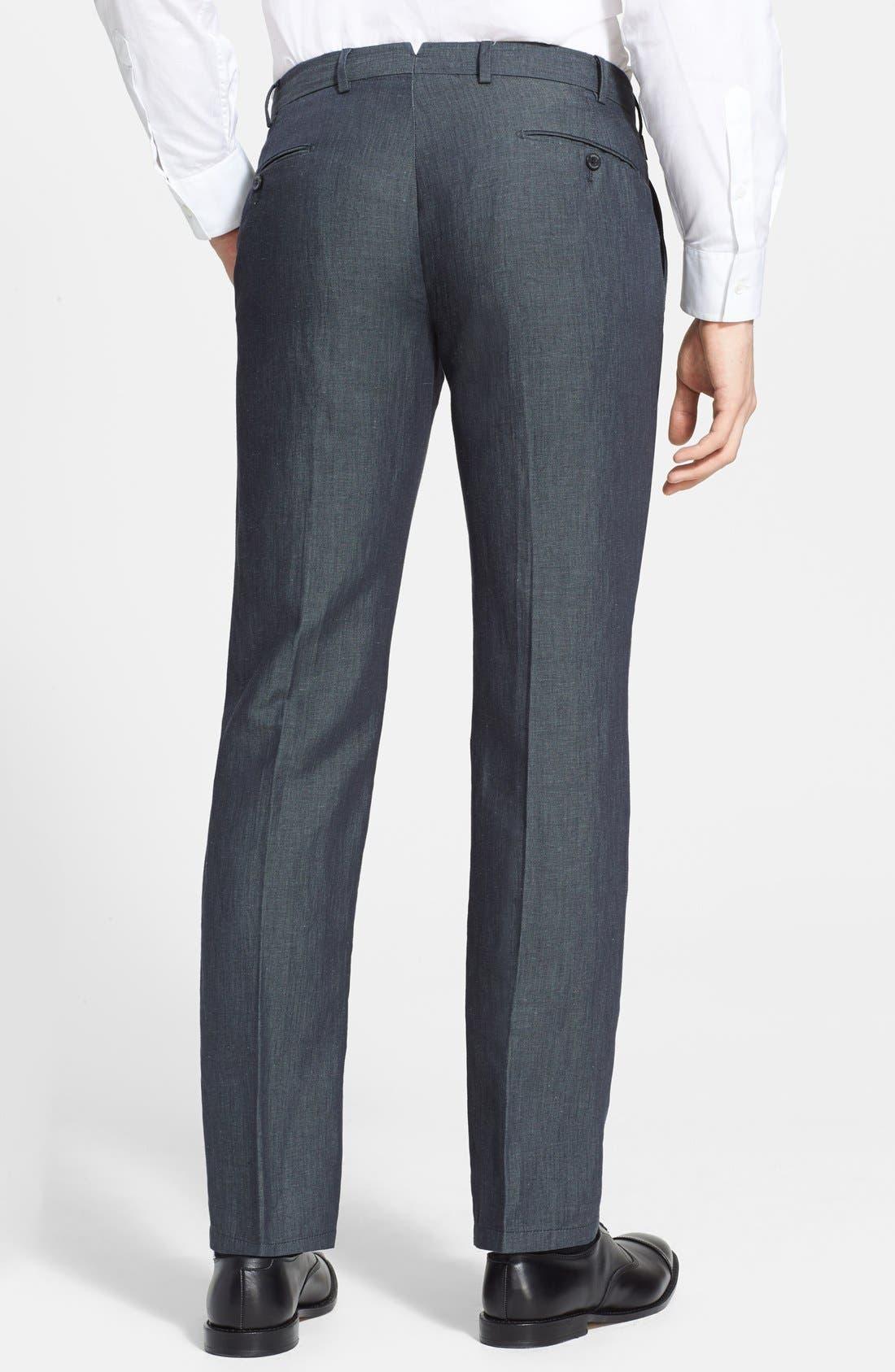 ,                             Armani Collezioni Flax & Cotton Flat Front Trousers,                             Alternate thumbnail 3, color,                             034