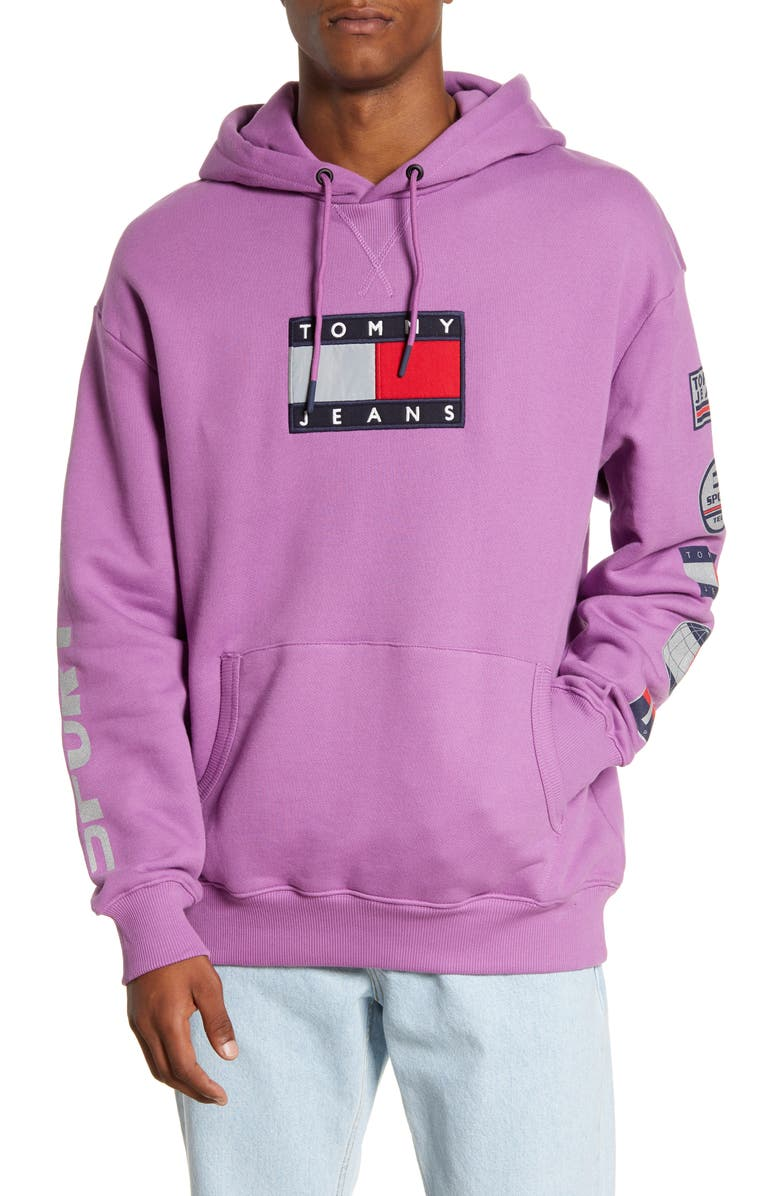 TOMMY JEANS TJM Sport Tech Logo Hooded Sweatshirt, Main, color, IRIS ORCHID