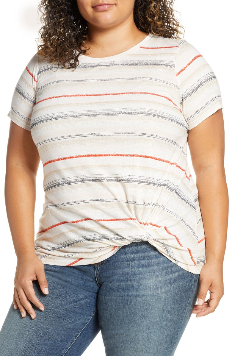 Vince Camuto Chalk Stripe Twist Front Tee Plus Size