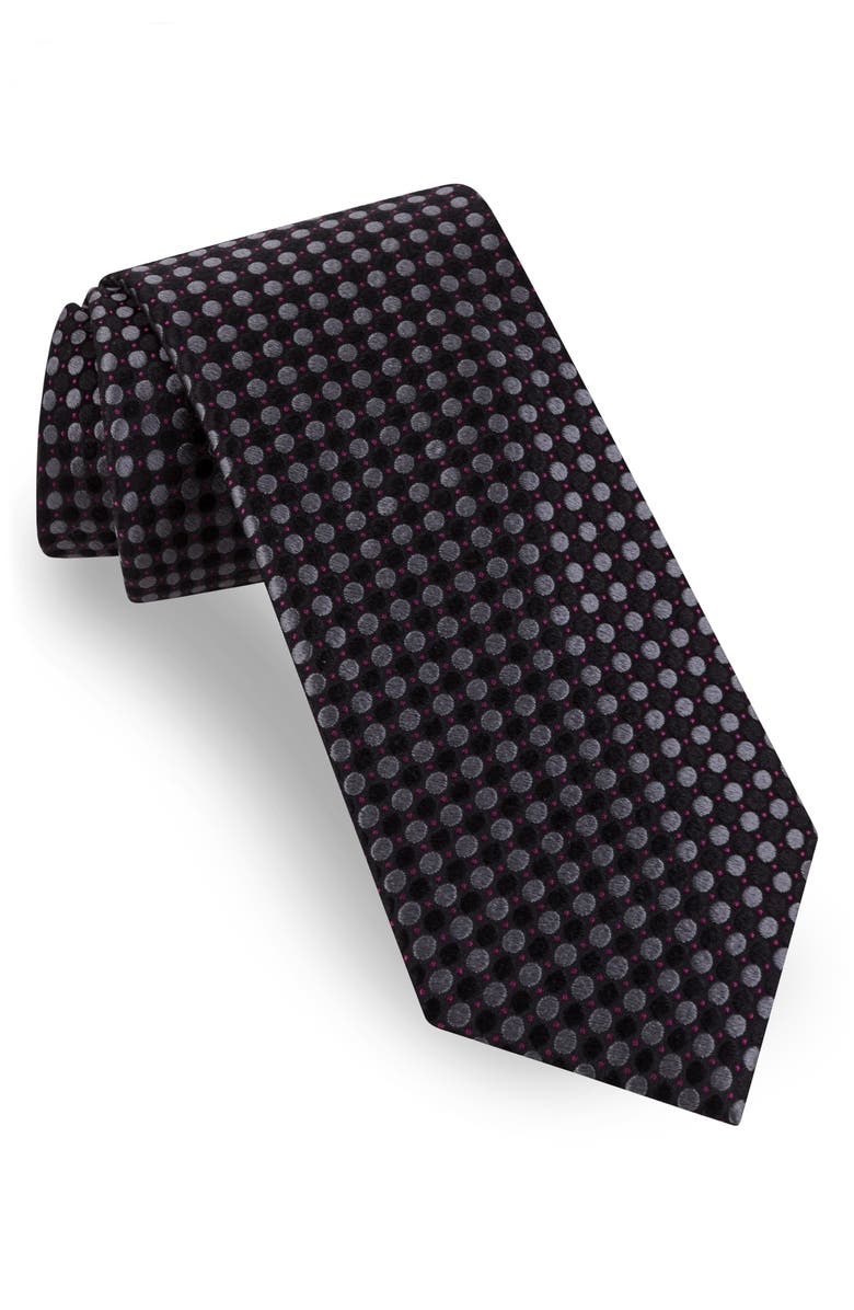 TED BAKER LONDON Tonal Alternating Dot Silk Tie, Main, color, BLACK