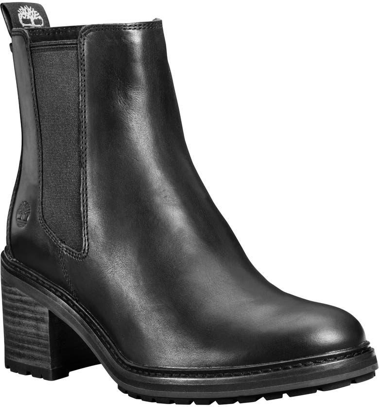 TIMBERLAND Sienna Waterproof Block Heel Chelsea Boot, Main, color, BLACK LEATHER