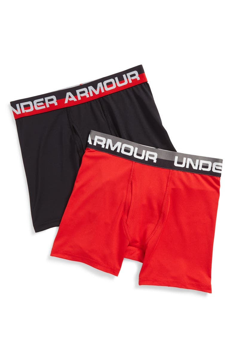 UNDER ARMOUR 2-Pack Solid Performance Briefs, Main, color, RED/ BLACK