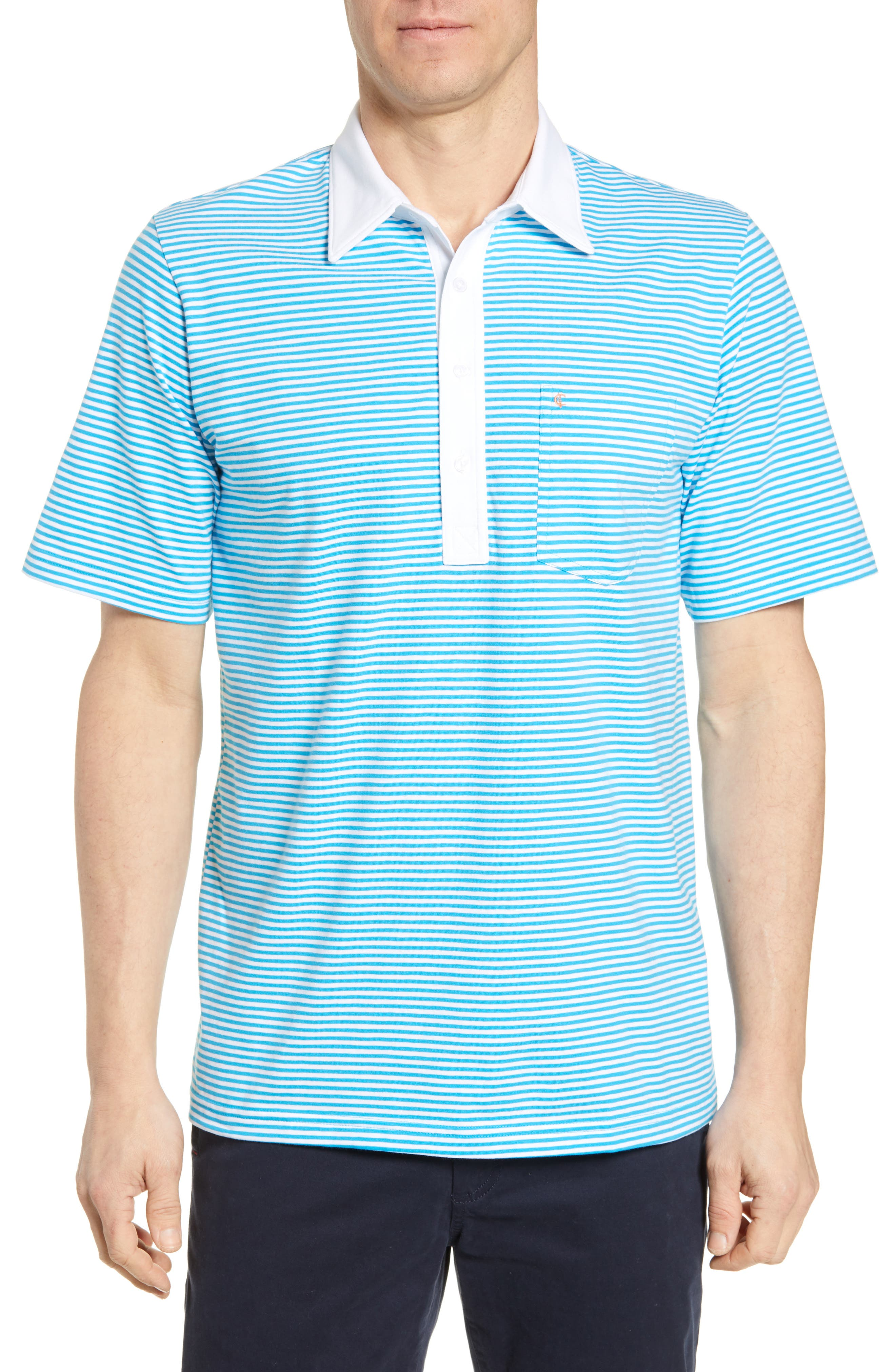 Criquet Regular Fit Players Stripe Stretch Jersey Polo, Blue