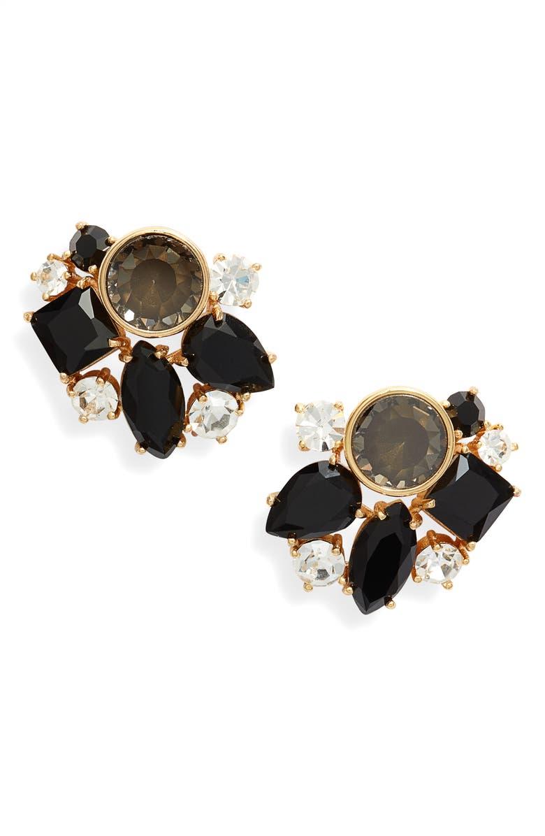 KATE SPADE NEW YORK reflecting pool cluster earrings, Main, color, 001