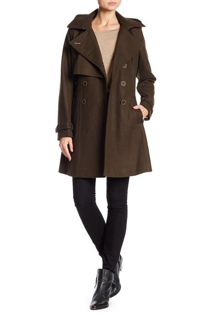 Image of Andrew Marc Rae Double Button Wool Blend Coat
