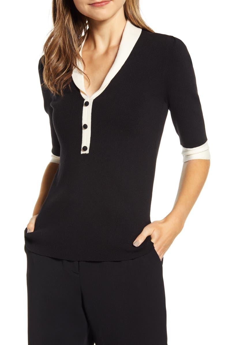 ANNE KLEIN Shawl Collar Sweater, Main, color, ANNE BLACK/ ANNE WHITE