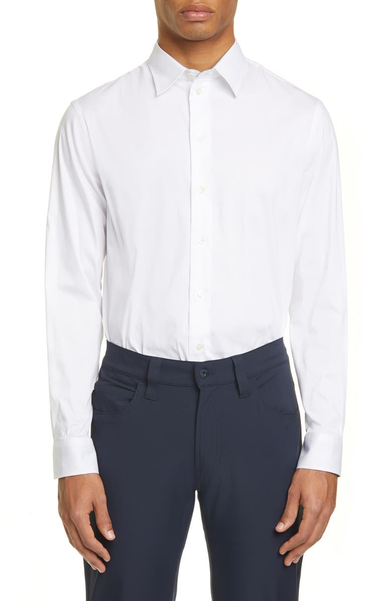 EMPORIO ARMANI Slim Fit Stretch Solid Button-Up Shirt, Main, color, WHITE