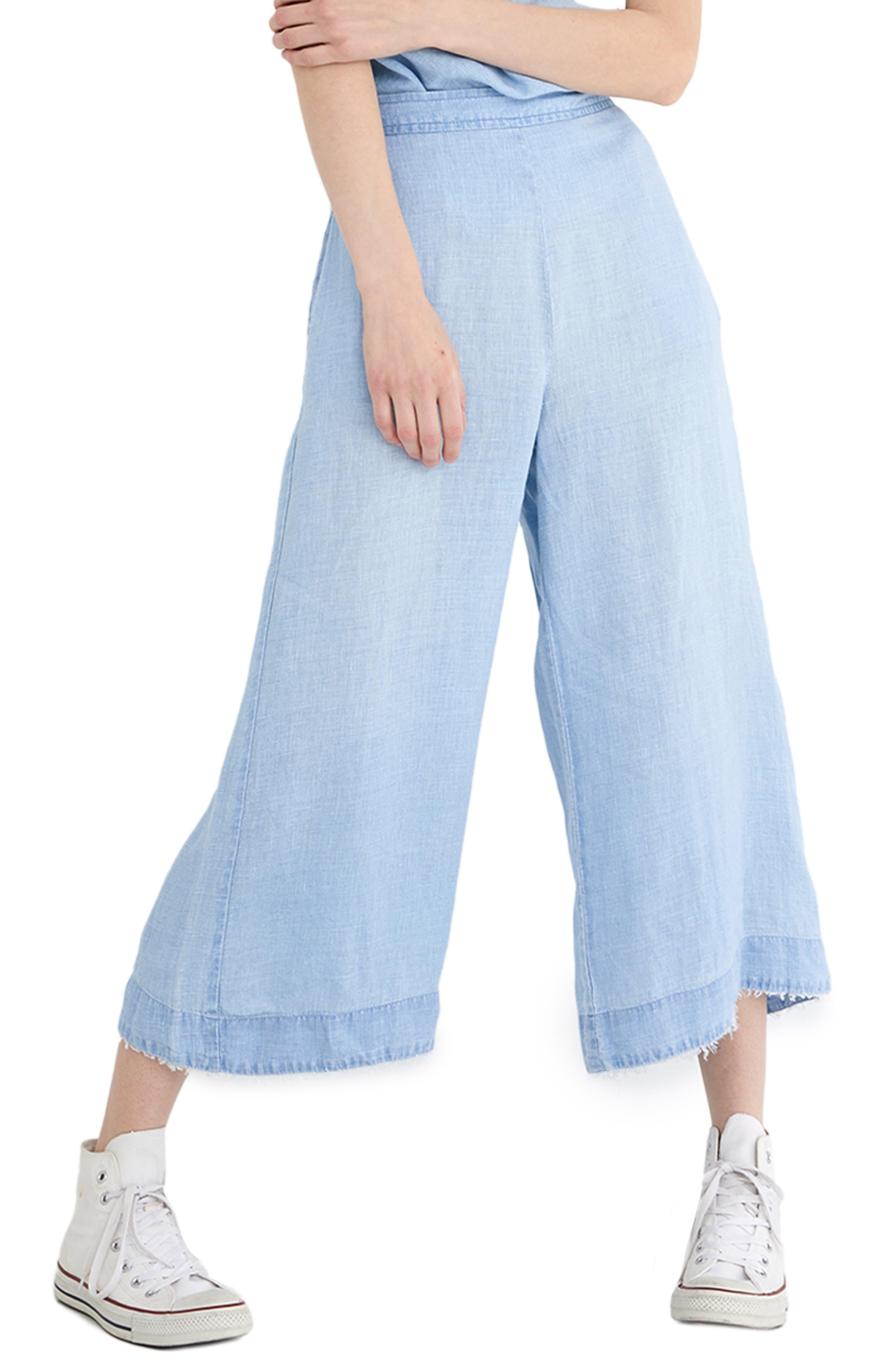 High Waist Crop Wide Leg Linen Pants