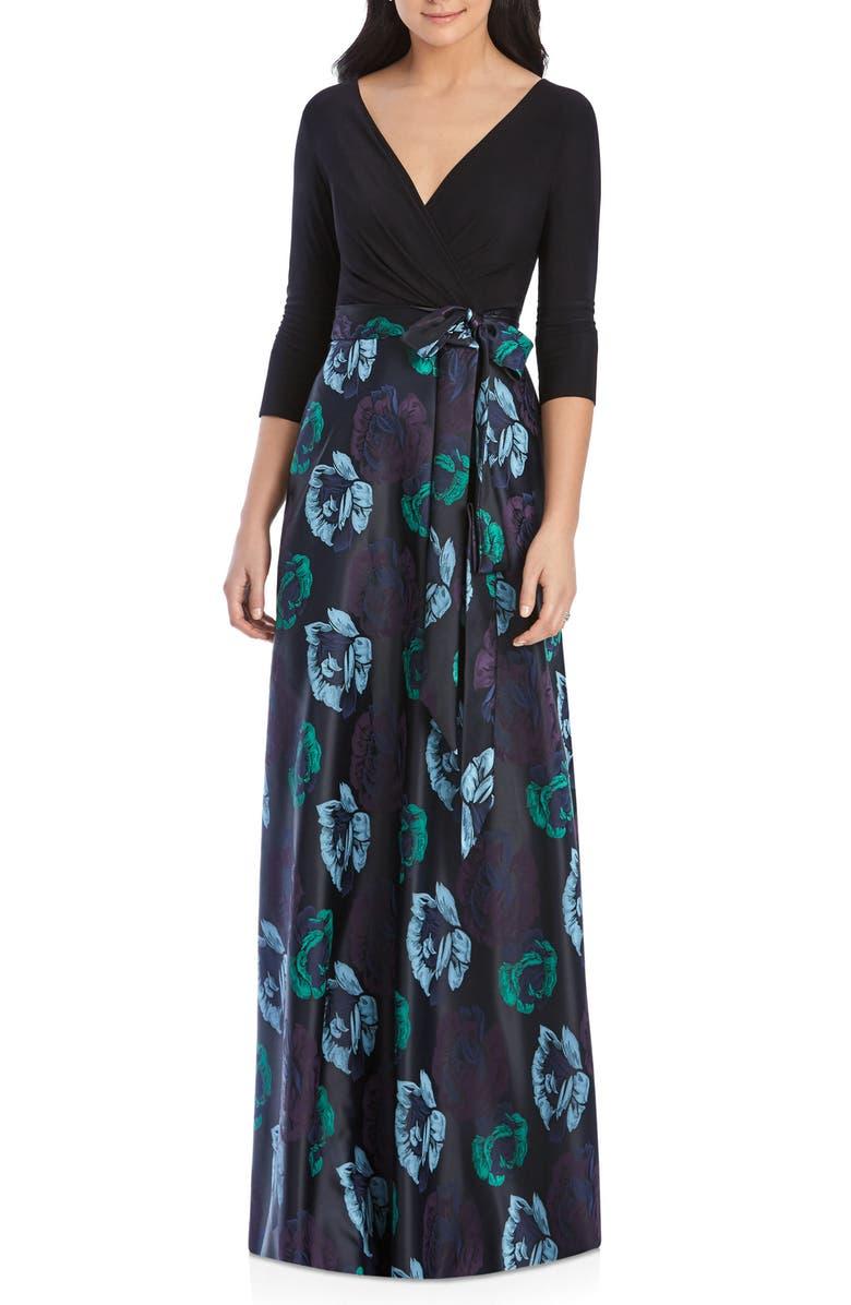 ALFRED SUNG Faux Wrap Jersey & Brocade Gown, Main, color, BLACK / LA VIE EN ROSE