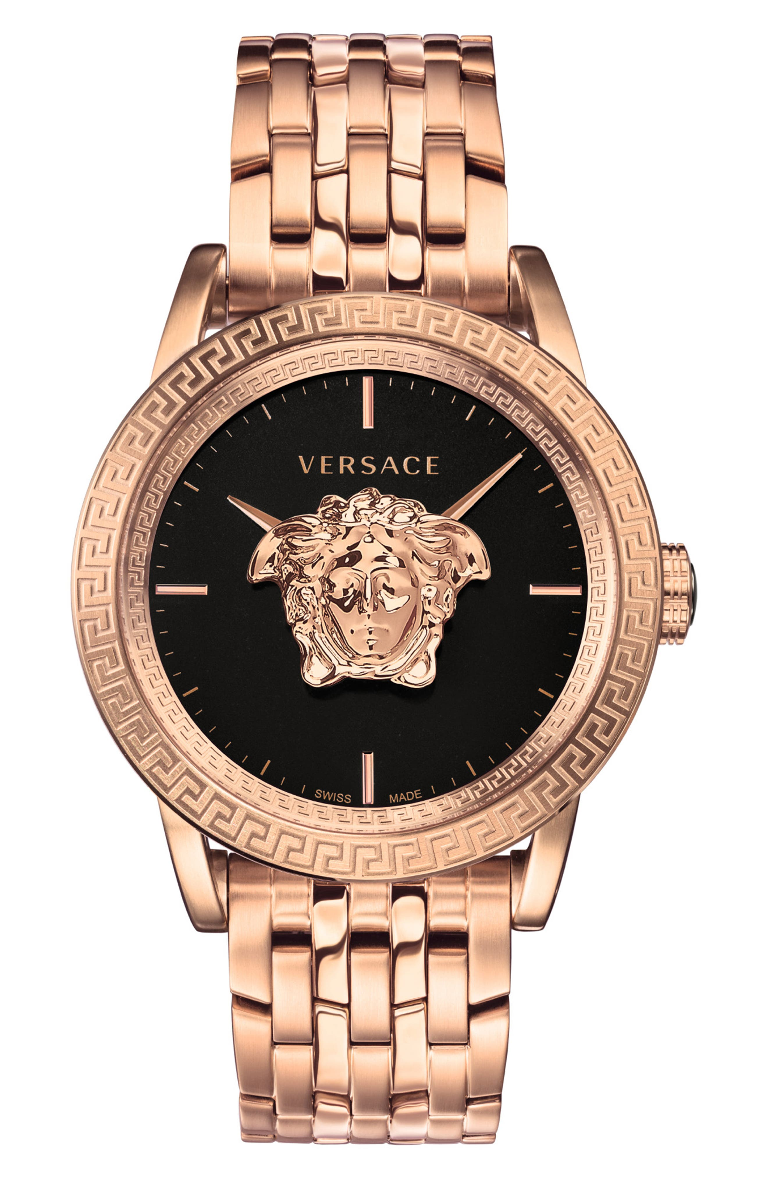,                             Palazzo Empire Bracelet Watch, 43mm,                             Main thumbnail 1, color,                             ROSE GOLD/ BLACK/ ROSE GOLD