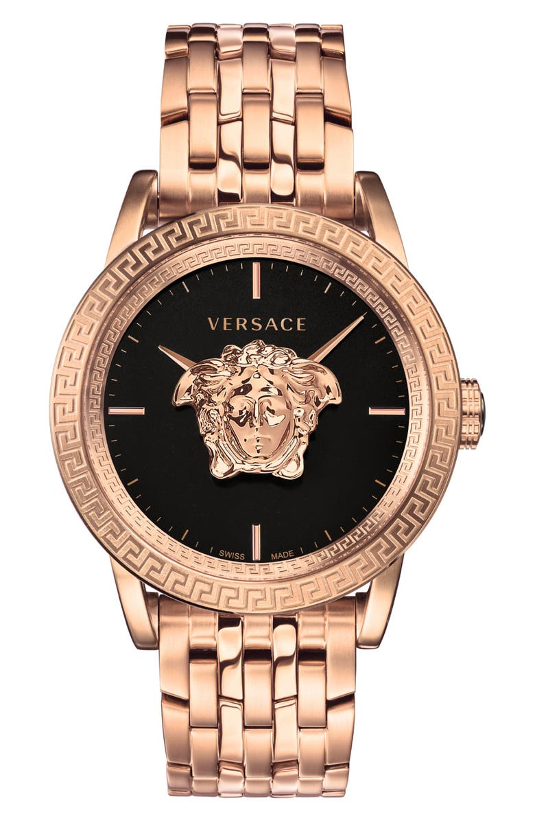 VERSACE Palazzo Empire Bracelet Watch, 43mm, Main, color, ROSE GOLD/ BLACK/ ROSE GOLD