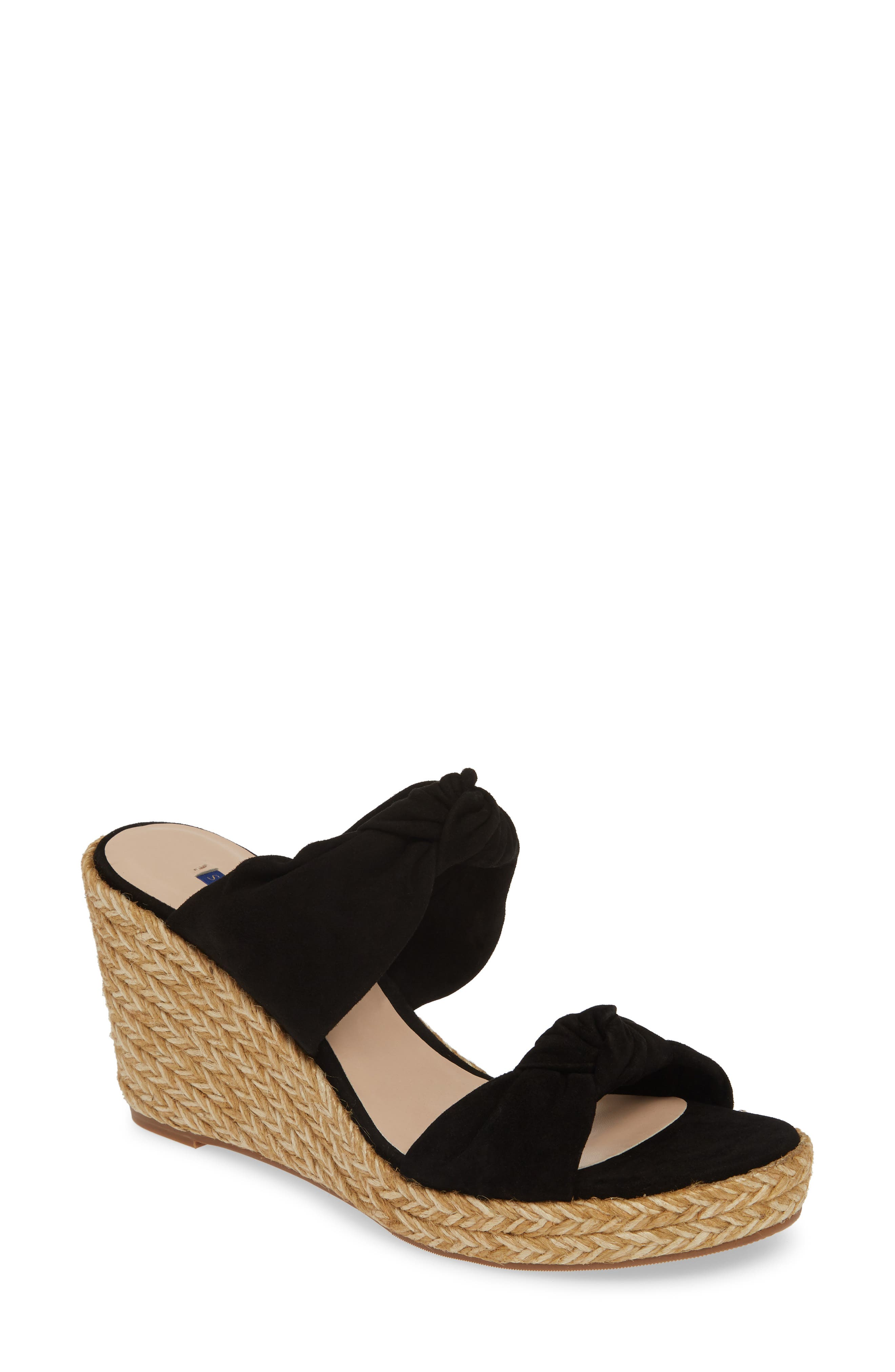 ,                             Sarina Espadrille Wedge Slide Sandal,                             Main thumbnail 1, color,                             BLACK SUEDE
