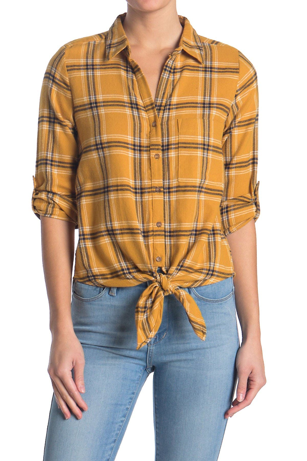 Image of Harve Benard Roll Tab Tie Front Plaid Print Flannel Shirt