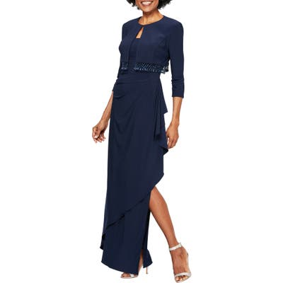 Petite Alex Evenings Ruched Gown With Bolero, Blue