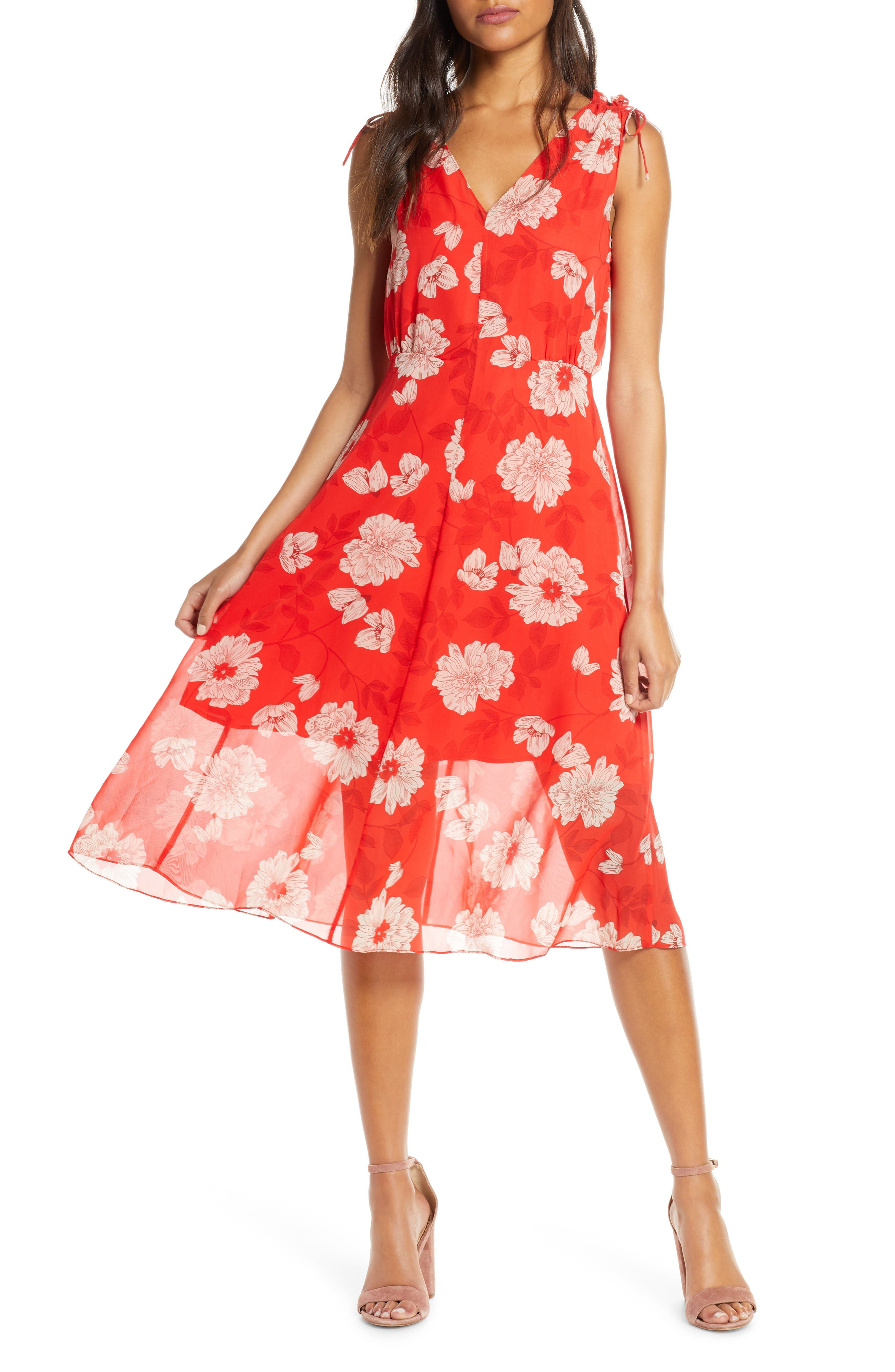 Vince Camuto Floral Print Tie Shoulder Chiffon Dress, Red