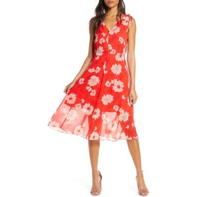 Vince Camuto Floral Print Tie Shoulder Chiffon Dress, Red