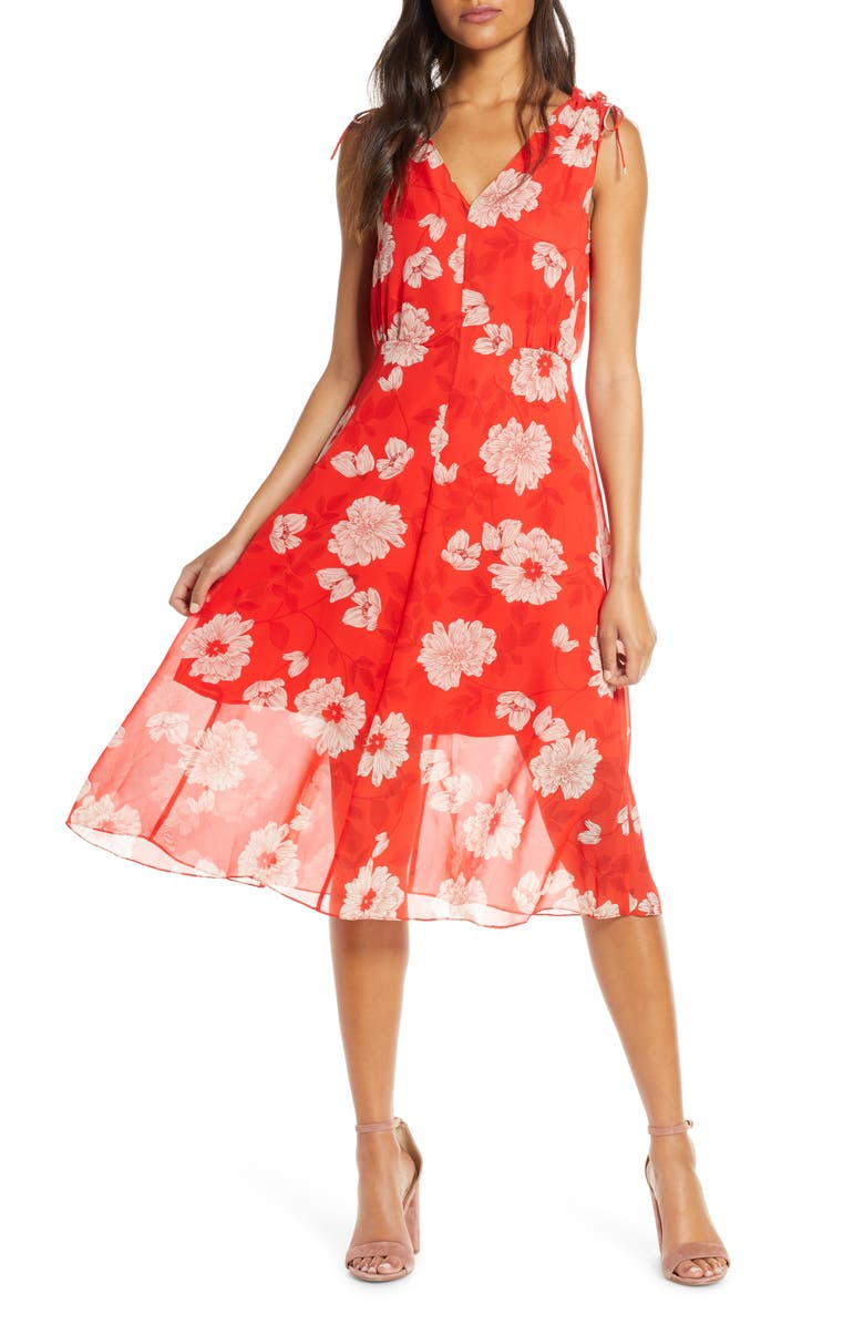 VINCE CAMUTO Floral Print Tie Shoulder Chiffon Dress, Main, color, RED