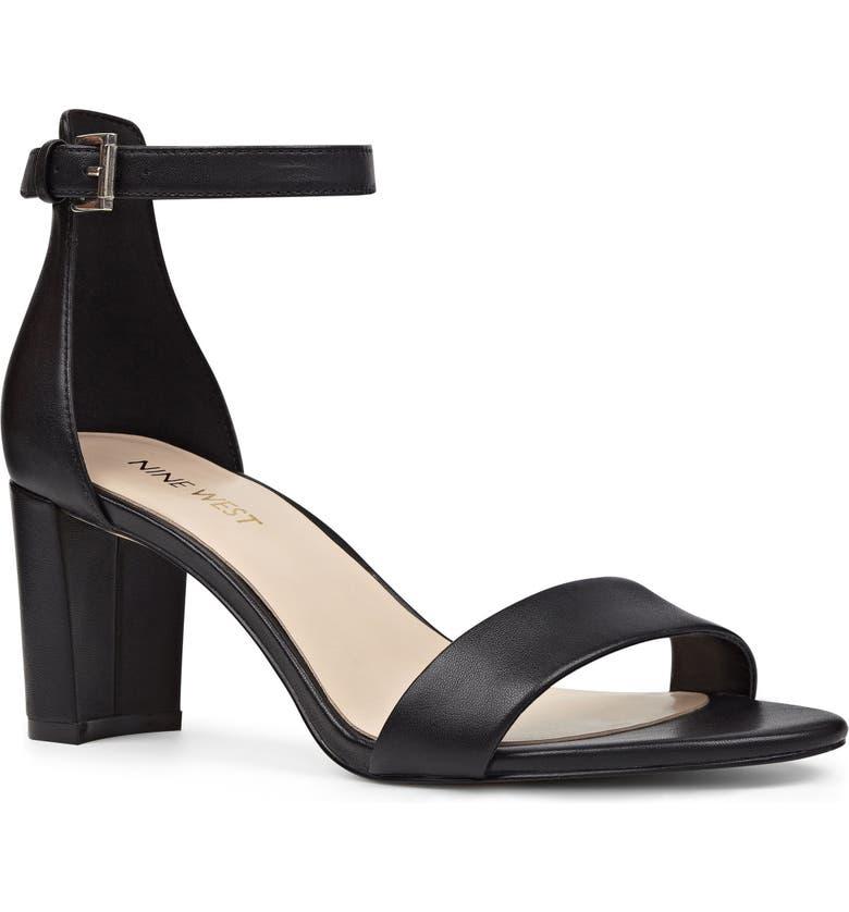 NINE WEST Pruce Ankle Strap Sandal, Main, color, BLACK LEATHER