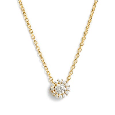 Nordstrom Cubic Zirconia Halo Pendant Necklace