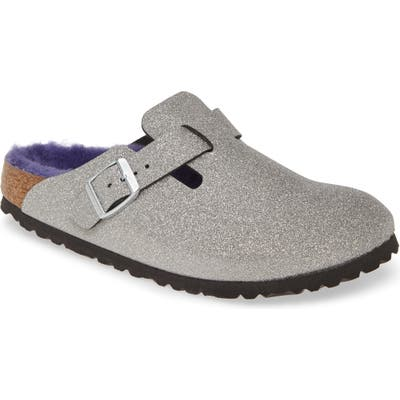 Birkenstock Boston Genuine Shearling Giltter Dust Clog, Metallic