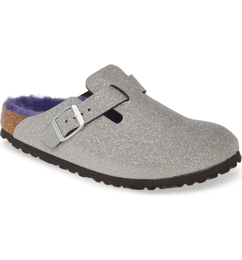 BIRKENSTOCK Boston Genuine Shearling Giltter Dust Clog, Main, color, GLITTER DUST SILVER