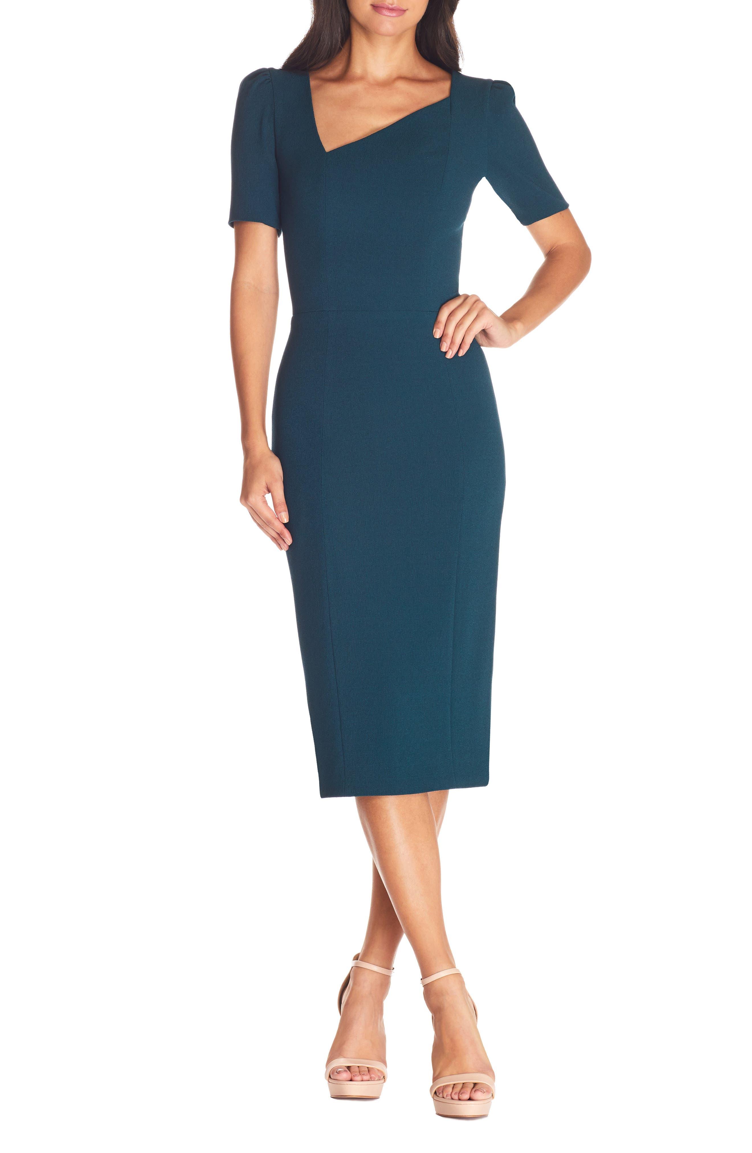 Dress the Population Ruth Asymmetrical Neck Midi Dress