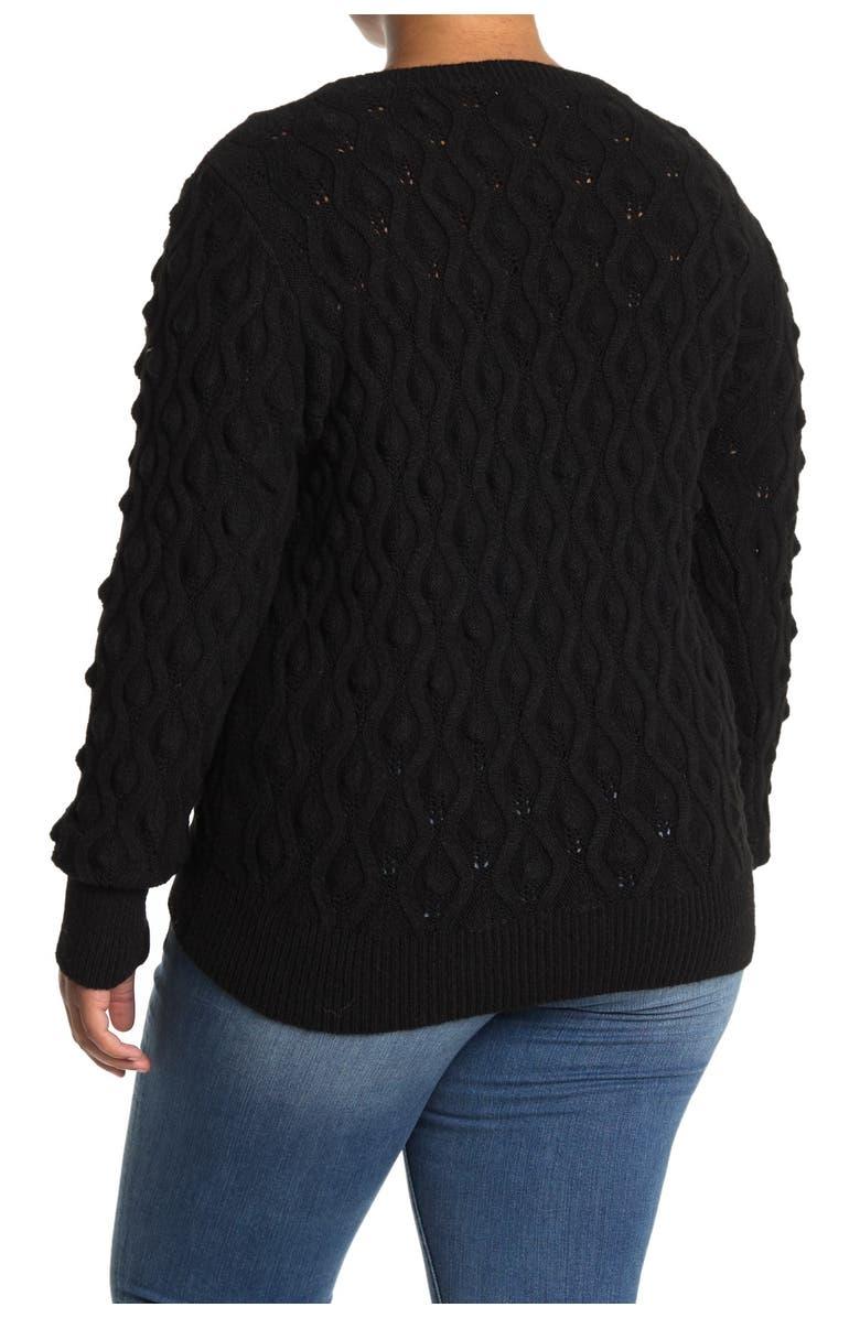 SWEET ROMEO Popcorn Pullover Sweater, Main, color, BLACK