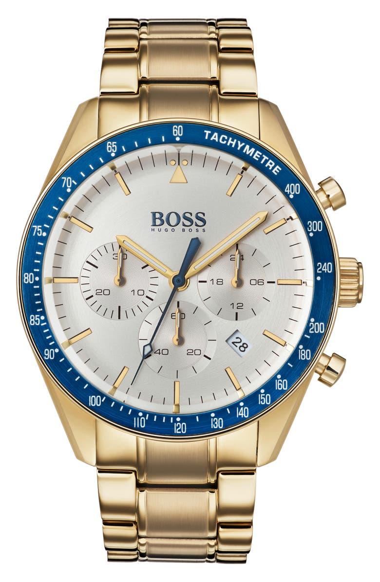 BOSS Trophy Chronograph Bracelet Watch, 44mm, Main, color, SILVER