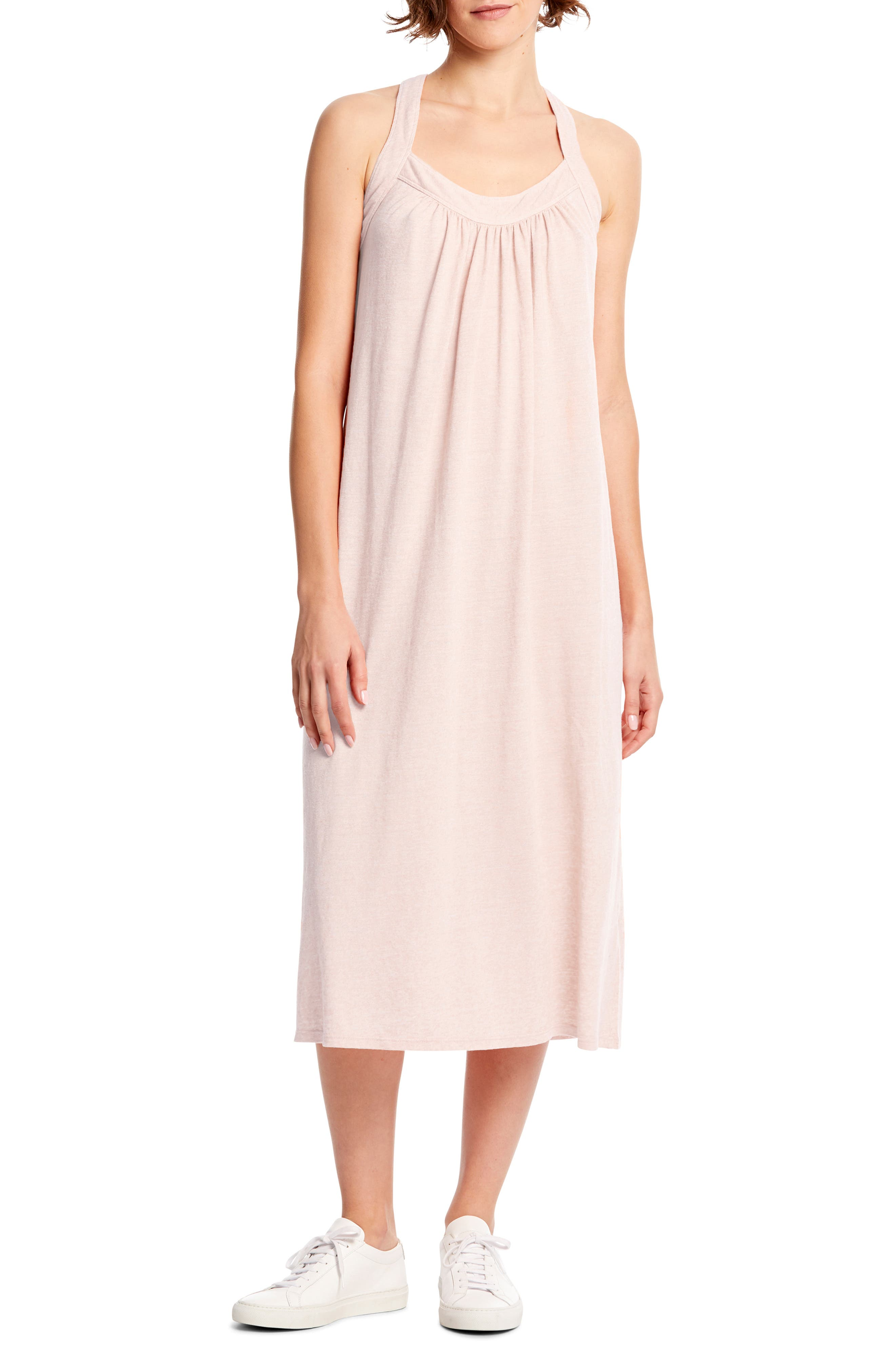 Michael Stars Margo Crossback Linen Blend Midi Dress, Pink