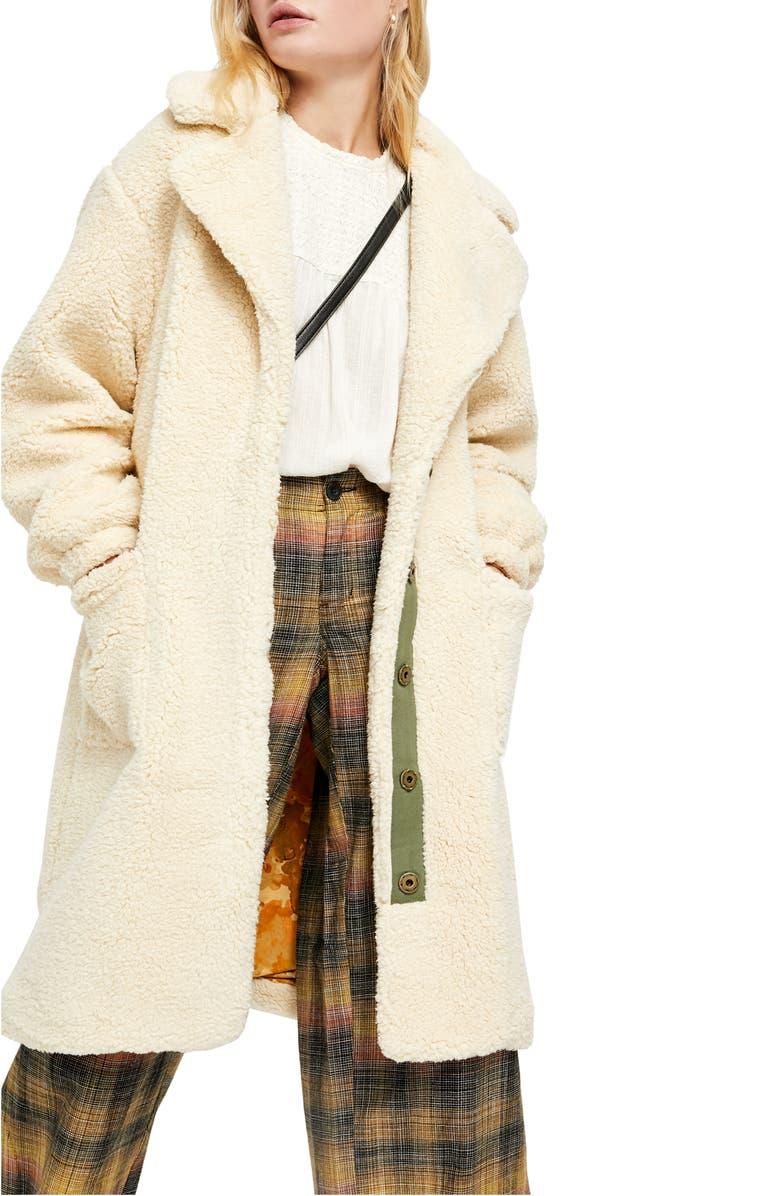 FREE PEOPLE Tessa Teddy Coat, Main, color, OATMEAL