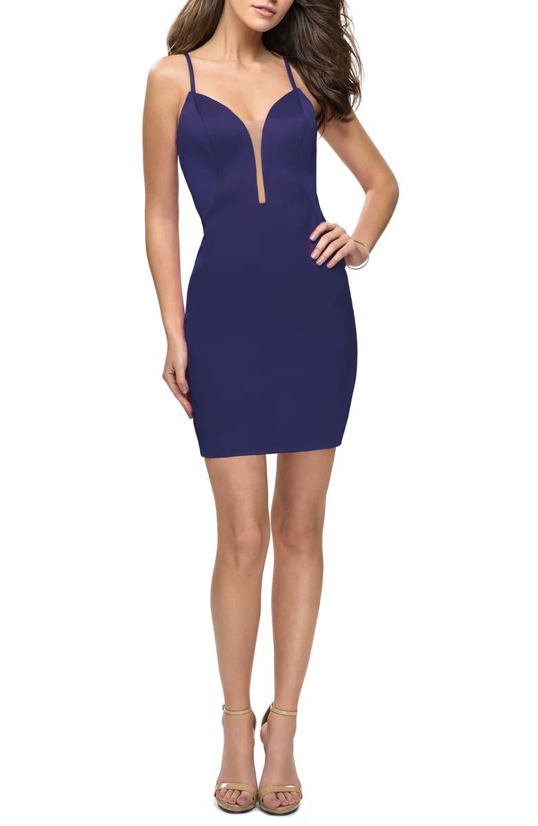 LA FEMME Strappy Back Satin Party Dress, Main, color, NAVY