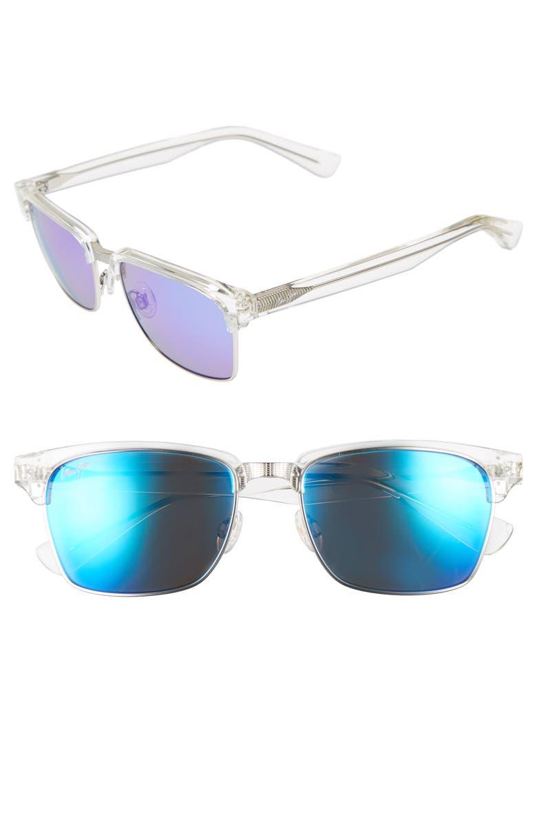 MAUI JIM 'Kawika - PolarizedPlus<sup>®</sup>2' 54mm Sunglasses, Main, color, CRYSTAL
