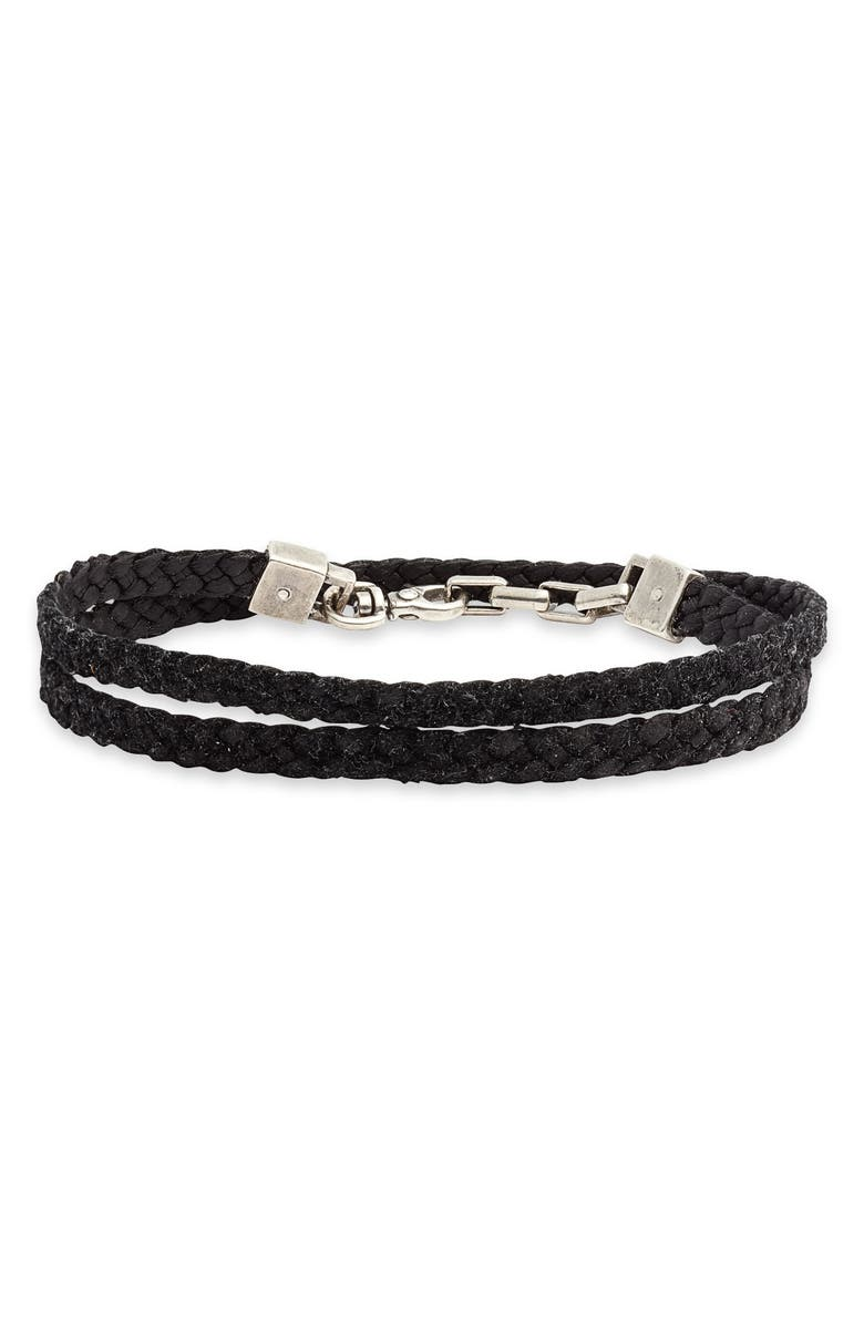 TITLE OF WORK Braided Leather Wrap Bracelet, Main, color, SILVER/ BLACK