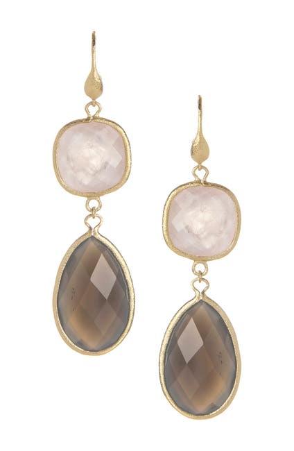 Image of Rivka Friedman 18K Gold Clad Faceted Rose Quartz & Gray Chalcedony Double Dangle Earrings