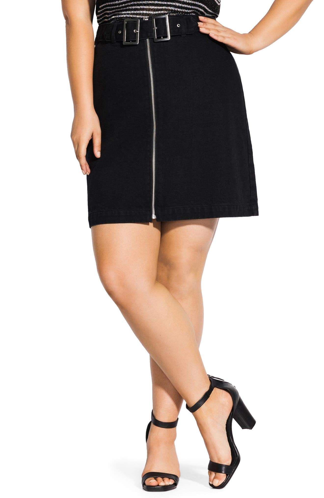 Plus Size City Chic Buckle Denim Skirt, Black