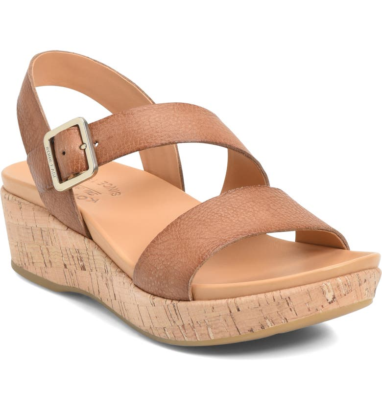 KORK-EASE<SUP>®</SUP> Minihan Wedge Sandal, Main, color, BROWN LEATHER