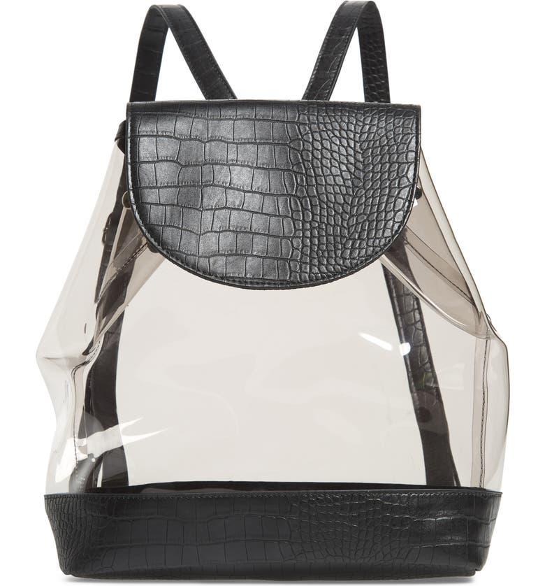SKINNYDIP Isla Clear Backpack, Main, color, BLACK
