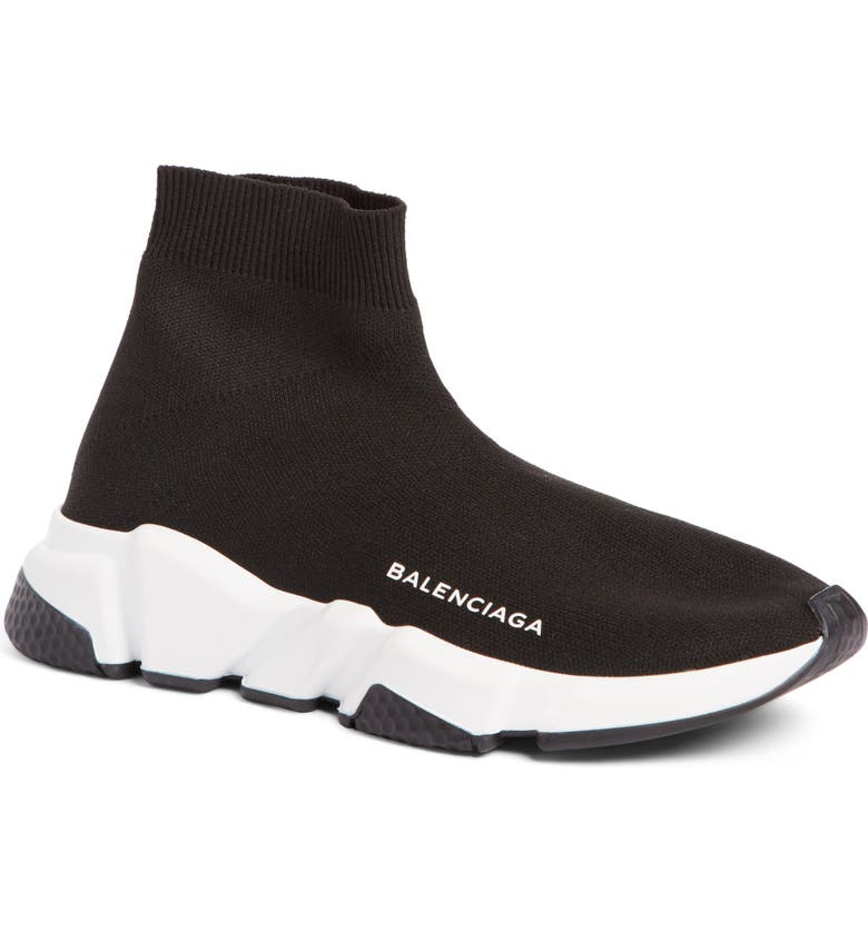 BALENCIAGA Speed Knit Sneaker, Main, color, BLACK/ WHITE