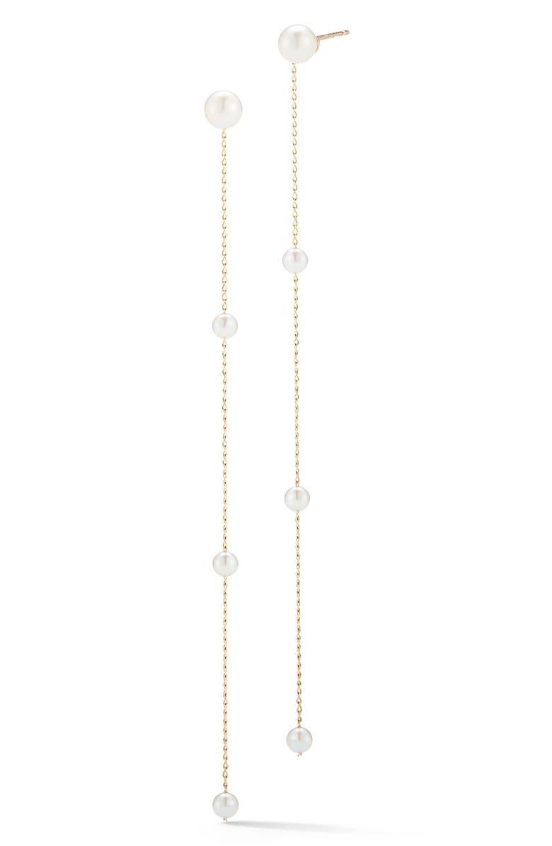 MIZUKI Pearl Station Linear Drop Earrings, Main, color, 710
