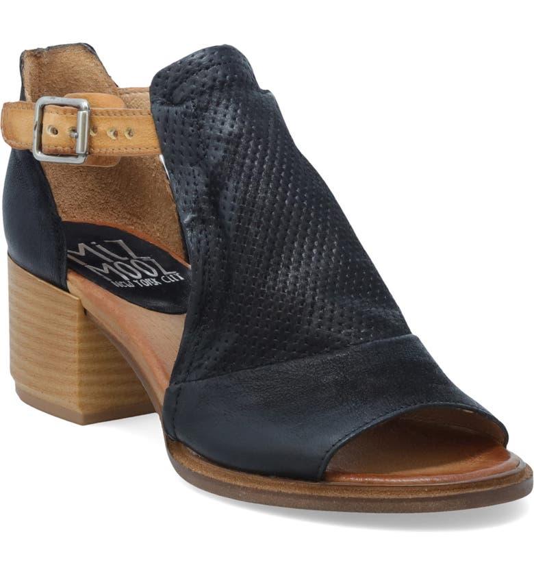 MIZ MOOZ Campbell Block Heel Sandal, Main, color, BLACK LEATHER