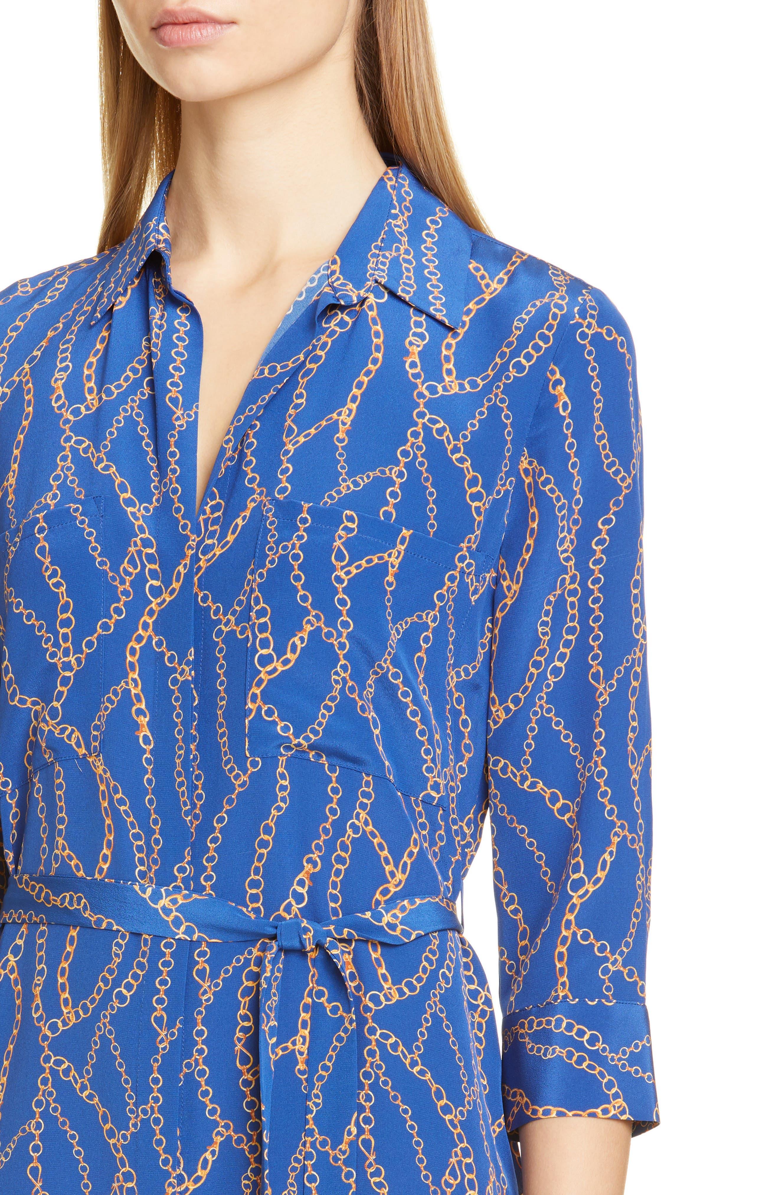 L'agence Dresses Stella Chain Print Silk Shirtdress