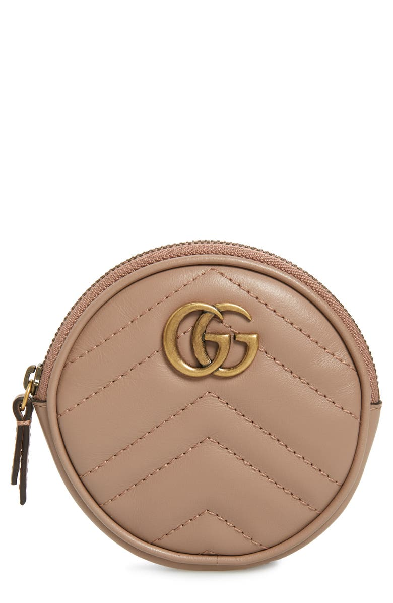 GUCCI Marmont 2.0 Leather Coin Purse with Key Ring, Main, color, PORCELAIN ROSE/ PORCELAIN ROSE