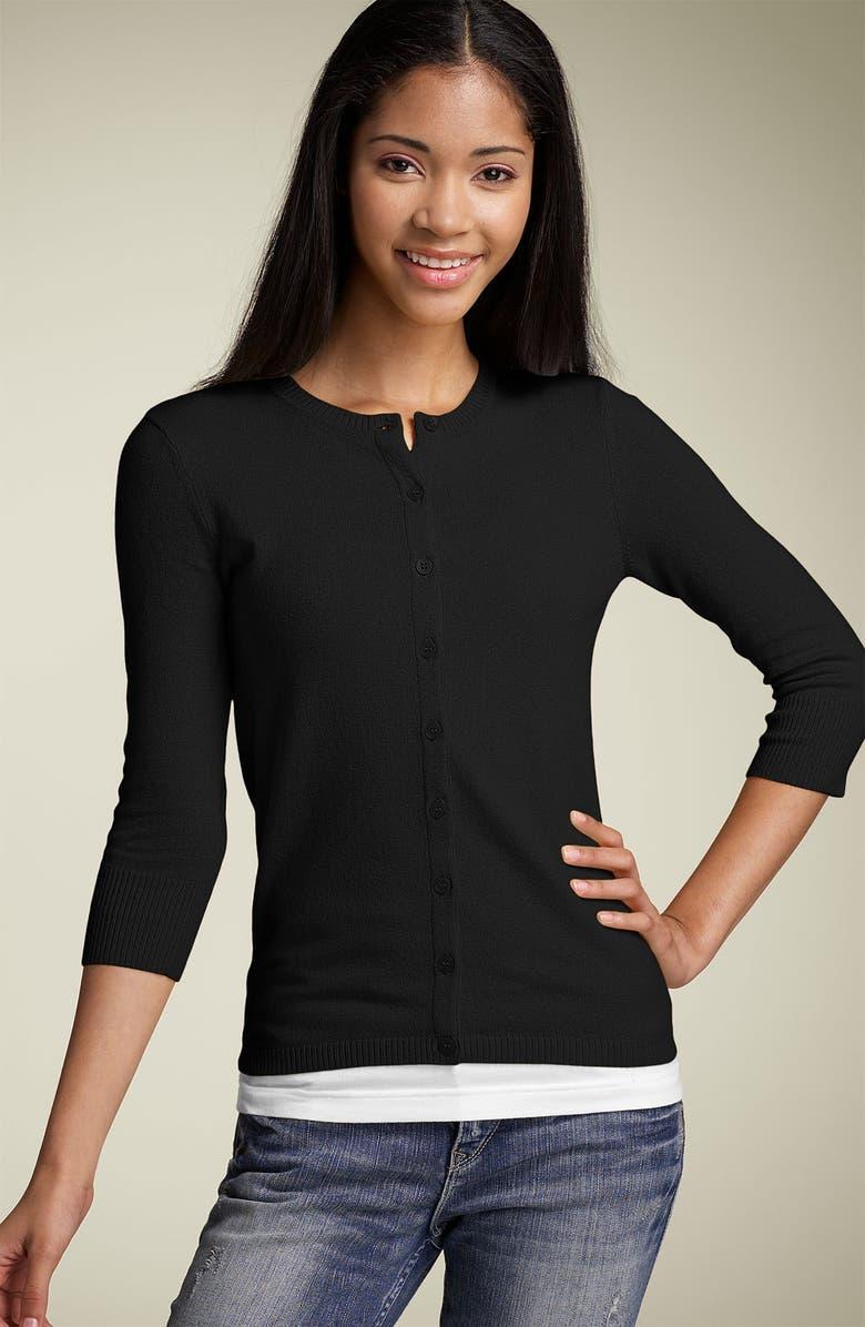 BP. Three Quarter Sleeve Jersey Cardigan, Main, color, 001